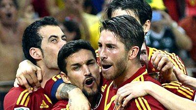 Радость футболистов сборной Испании