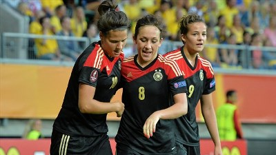 Сборная Германии отмечает победный мяч
