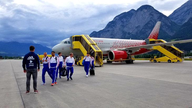Сборная России прилетела в Австрию на сбор перед чемпионатом мира