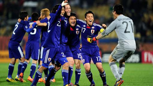 Сборная Японии после победы над Данией на ЧМ-2010