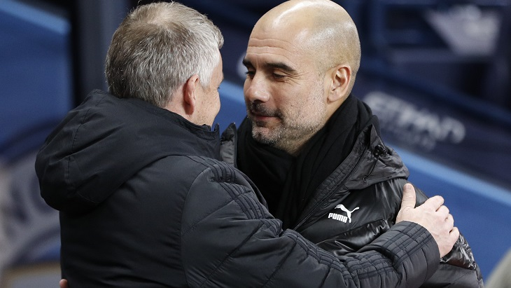 Гвардиола (справа) и Сульшер снова встретятся — теперь в Кубке Лиги