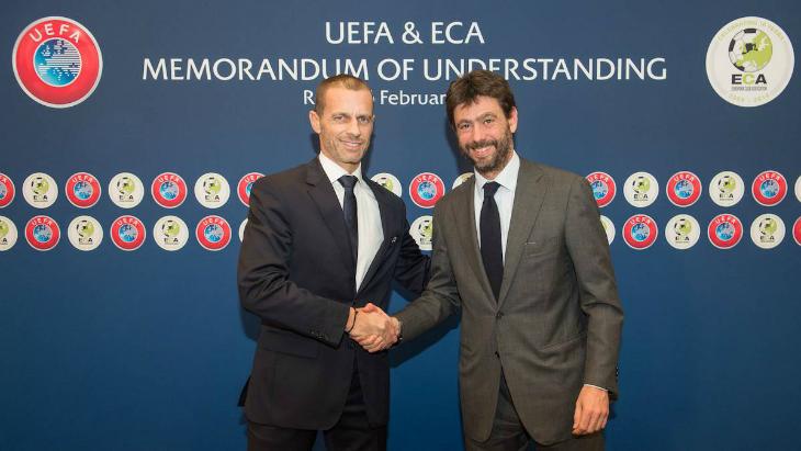 Глава УЕФА Александер Чеферин (слева)