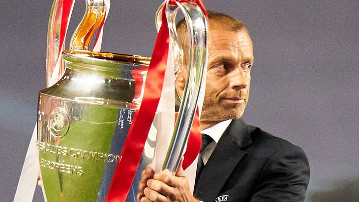 Александр Чеферин с трофеем Лиги чемпионов