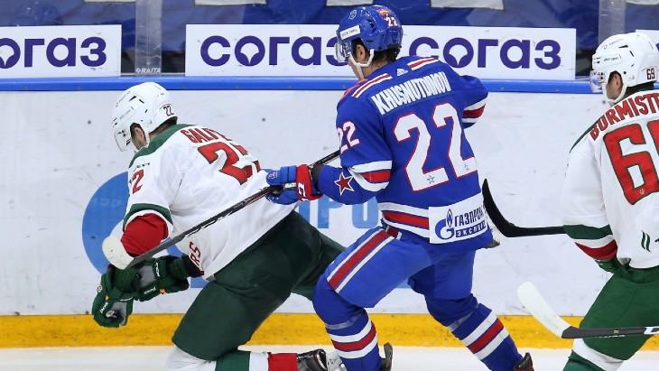 Фрагмент матча СКА — «Ак Барс»