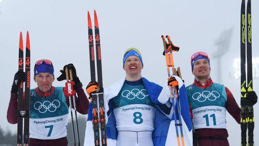 Александр Большунов, Ийво Нисканен и Андрей Ларьков